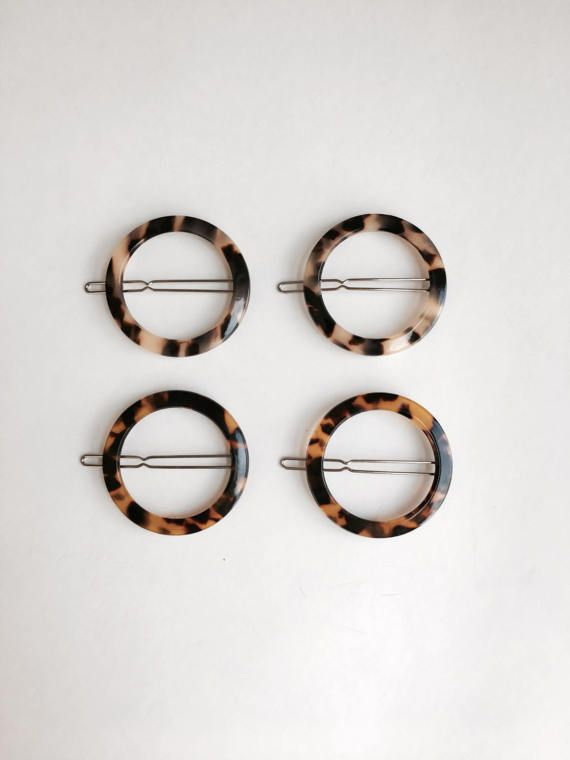 Tortoise Hair Clip Set of 4 / Geometric Hair Clip Circle