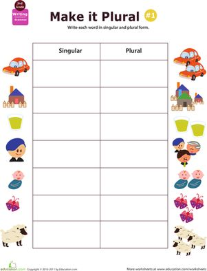 If your child has difficulty with plurals, give him extra practice with this worksheet that challenges him to write nouns in their singular and plural forms.