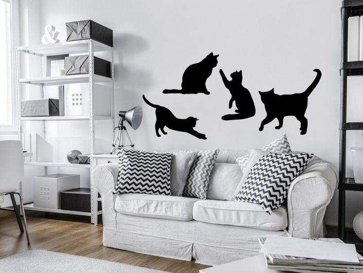 Och för sovrummet rekommendera en rolig väggdekor med katter :) #väggdekor #väggdekorationer #sovrum #väggdekorer #katter #djur #svart #bimago