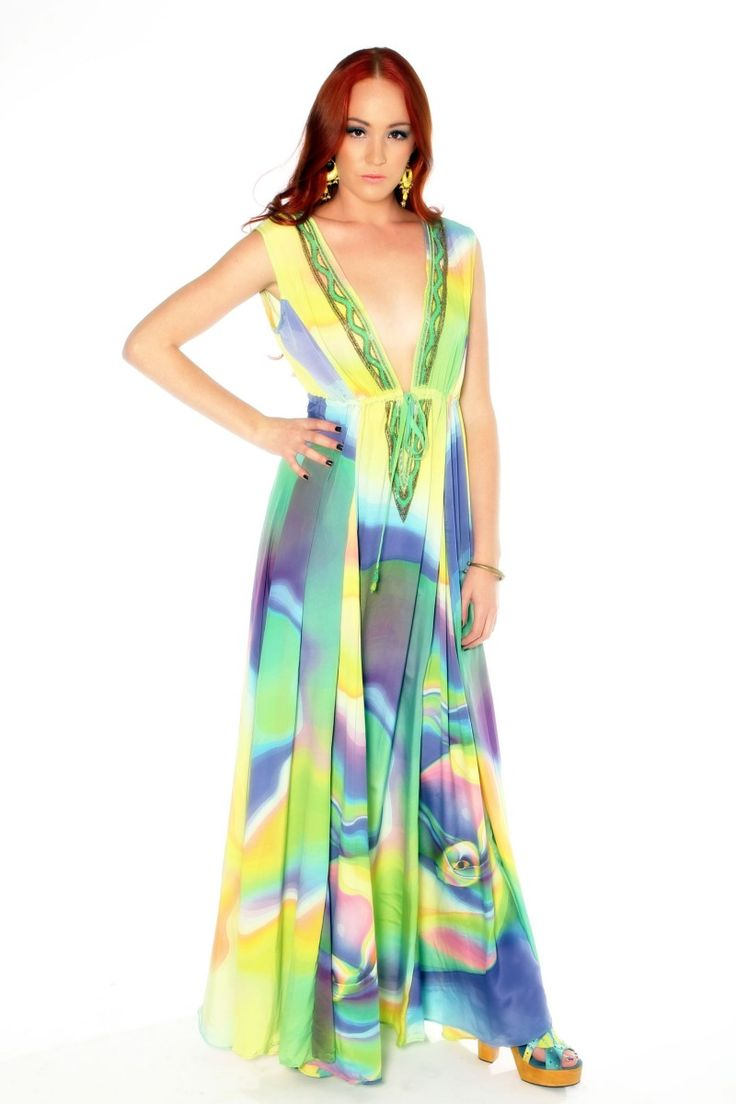 Shahida Parides Green Sublime V Neck Long Maxi Dress