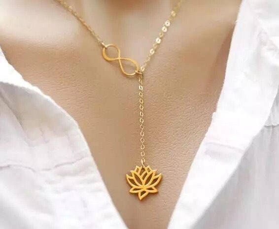 Delicate Lotus Flower Infinity Necklace, Dainty Jewelry, Flower Necklace, Dainty Necklace, Gift Ideas, Yoga Necklace, Simple Necklace, Gifts by MissFitBoutiqueCA on Etsy https://www.etsy.com/ca/listing/576576273/delicate-lotus-flower-infinity-necklace