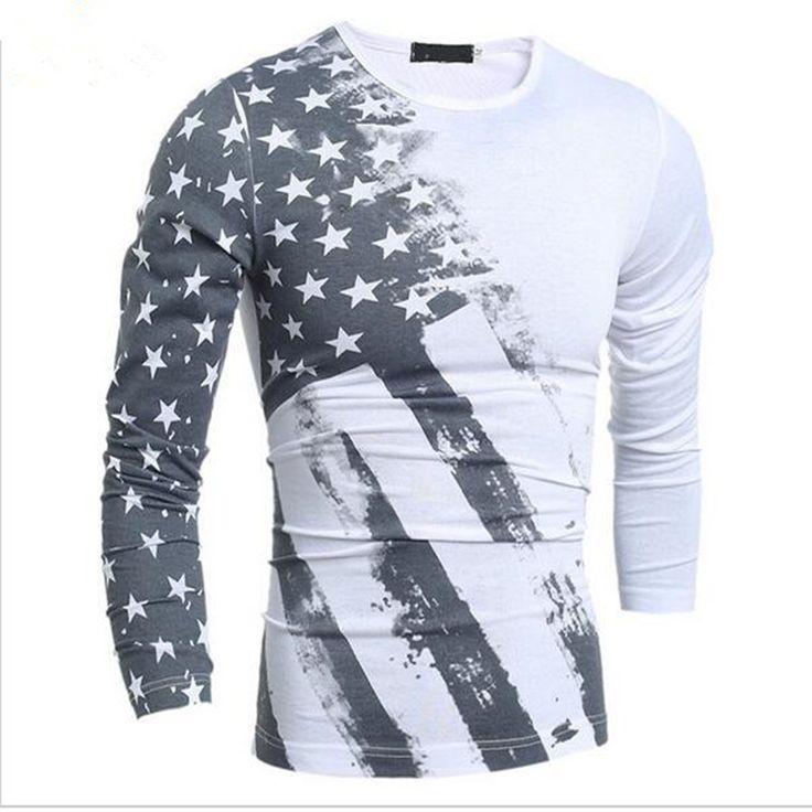 Nieuwe 2017 Lente Mode T-Shirt Lange Mouw T-shirt USA Amerikaanse Vlag Gedrukt T-shirts Fall Mannen Tshirt Fitness Camiseta H7751