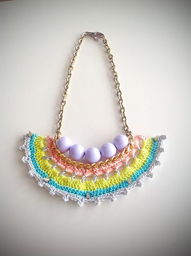Lemon sorbet chain crochet statement necklace