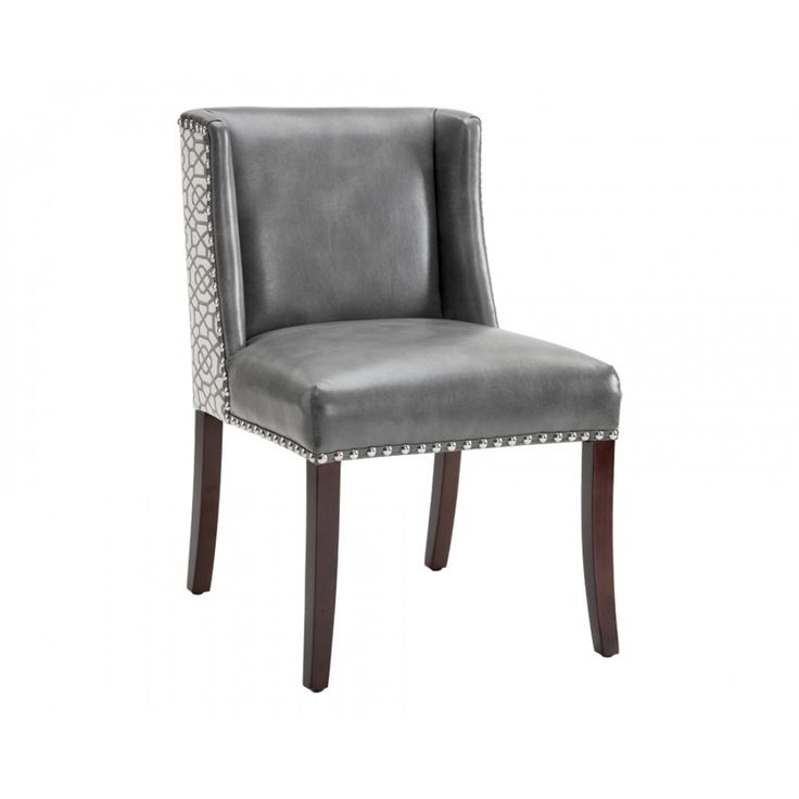 MARLIN DINING CHAIR   GREY LEATHER / DIAMOND FABRIC, ,