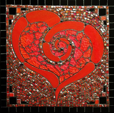 red mosaic, wine or brown grout