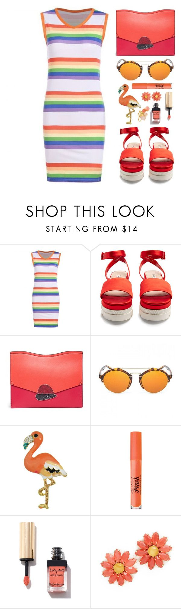 """Striped Mini Dress"" by simona-altobelli ❤ liked on Polyvore featuring Miu Miu, Proenza Schouler, Too Faced Cosmetics and Kate Spade"