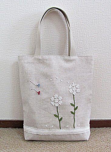 Cotton linen book bag or tote with white by KawaiiSakuraHandmade, ¥4500
