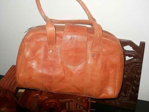 vintage hand made leather bag made in Madagascar
