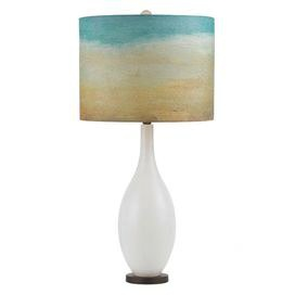 """Illuminate your foyer, powder room, or master suite in chic style with this eye-catching luminary.Product:  Table lamp Construction Material: Glass, fabric and patina copperColor: White       Accommodates: (1) 150 Watt  Edison base bulb - not includedDimensions: 32.5"""" H x 16"""" Diameter  Cleaning and Care: Wipe clean with dry cloth   Shipping: This item ships small parcelExpected Arrival Date: Between 04/19/2013 and 04/27/2013Return Policy: This item is final sale and cannot be returned"""