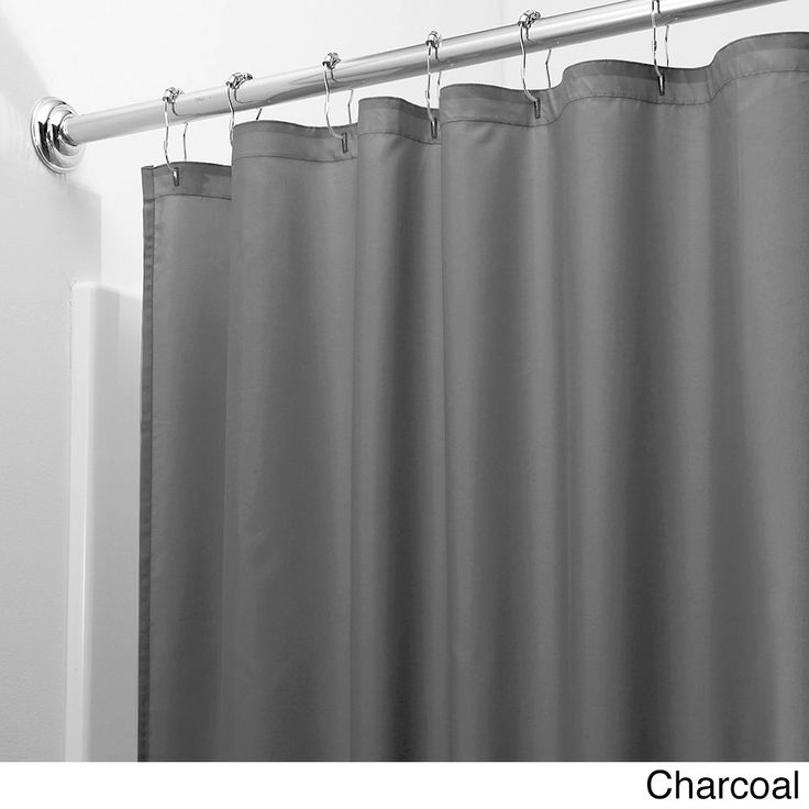 Mildew-free Water-repellent Fabric Shower Curtain Liner (Charcoal), Grey (Polyester, Solid Color)