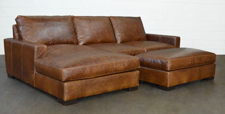 The Arizona Leather Sectional in Brompton Classic Vintage | Hearth ...