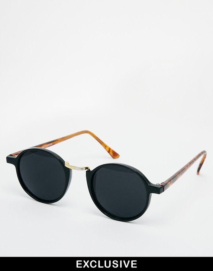 €34, Schwarze Sonnenbrille von Reclaimed Vintage. Online-Shop: Asos. Klicken Sie hier für mehr Informationen: https://lookastic.com/men/shop_items/65855/redirect