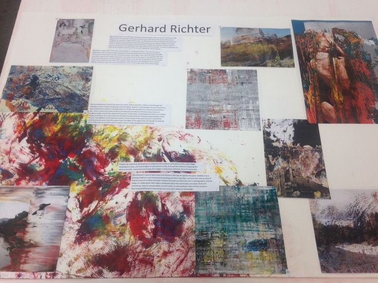 My second board showing my research and influence from Gerhard Richter and the way he applies paint and colour choices/theory.
