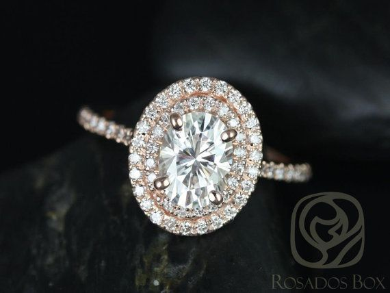 Cara 8x6mm 14kt Rose Gold Oval FB Moissanite and Diamonds Double Halo Engagement Ring (Other metals and stone options available)