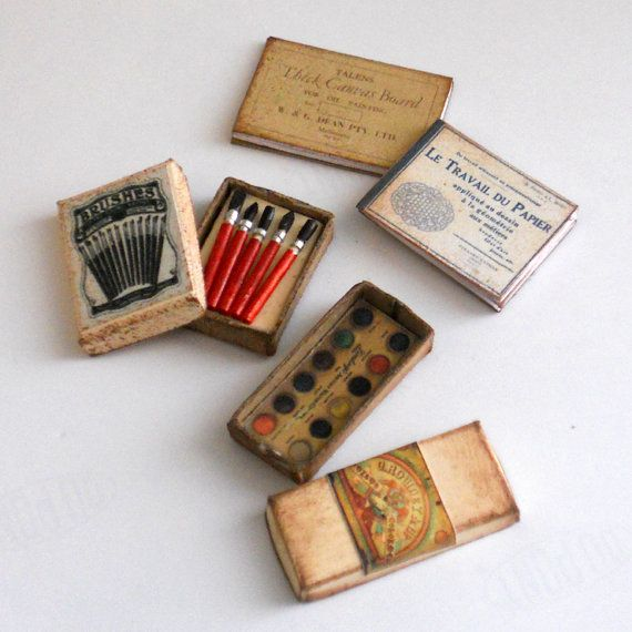 1/12 Scale Miniature Vintage Painting Art Set