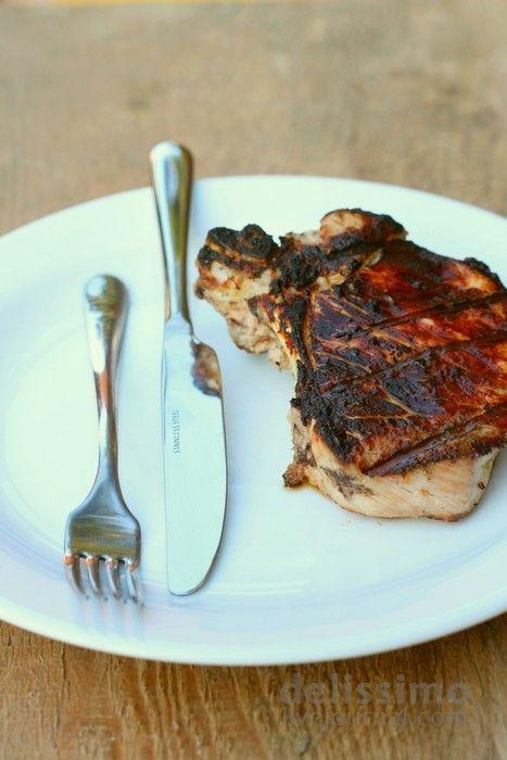 Свинні стейки з маринадом з ківі / Pork ribs chops with kiwi marinade