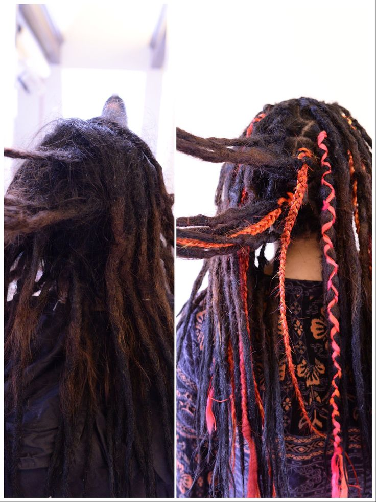 Here is a photo of my client Daniela that came for some dreadlock maintenance and she wanted to dreadlock decorations in her hair. Here you see her hair before and then after. You can do so much with dreadlocks so if you feel that you have an issue with your dreadlocks don't worry you can fix almost everything and make fun thing with them!