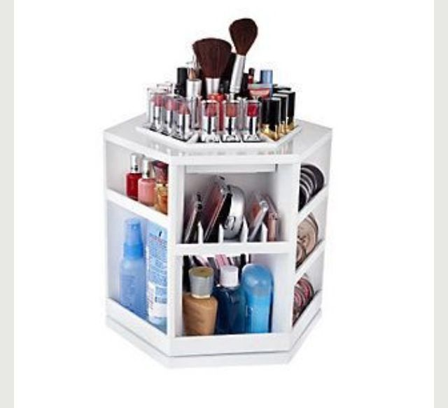 Spinning tabletop makeup organizer  From: qvc.com $30