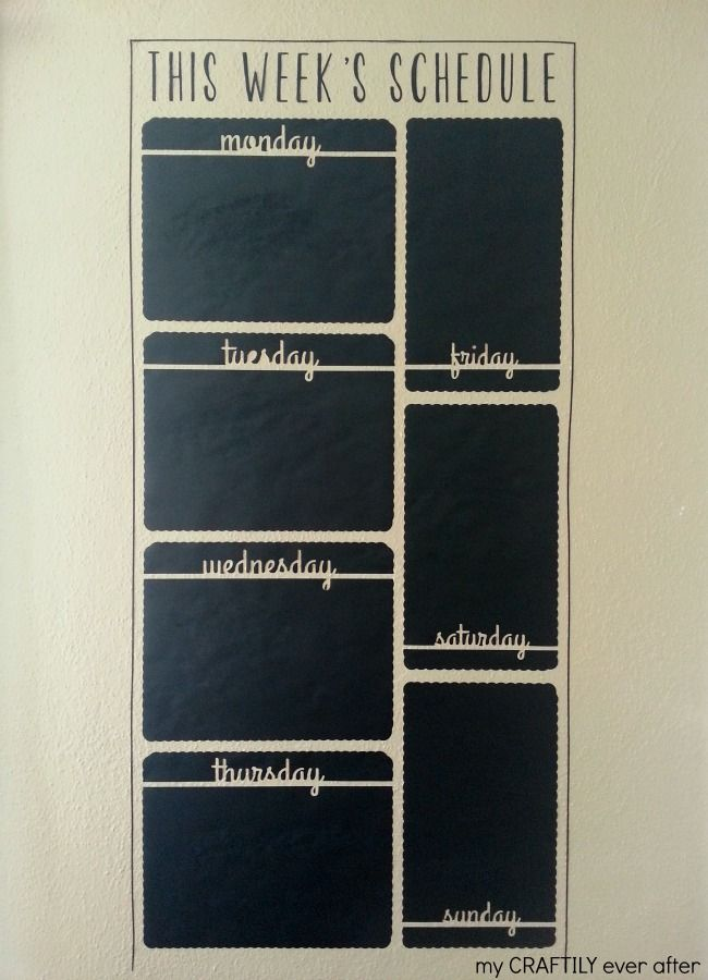 Chalkboard vinyl wall calender.  Perfect for renters and commitment phobes! - My Craftily Ever After