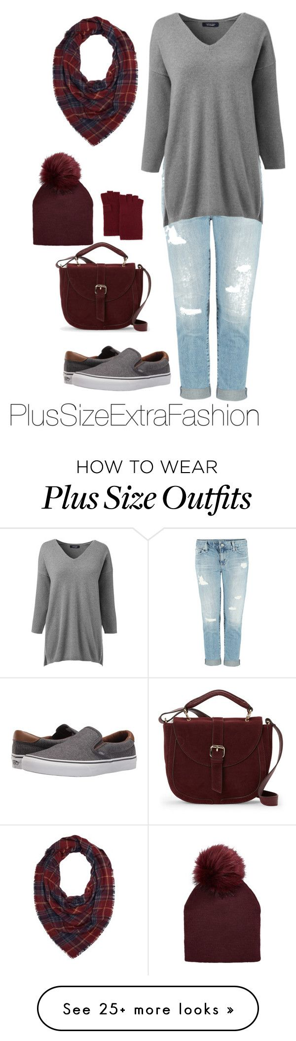 """""""Gray and Burgundy Plus Size Fall Outfit"""" by plussizeextrafashion on Polyvore featuring Dex, Lands' End, IMoshion, Vans, Charlotte Russe, Neiman Marcus, Fall, autumn, burgundy and plussize"""