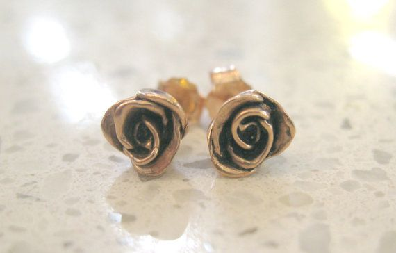 SOLID 10 Karat Rose Gold Rose Flower Stud Earrings by JeweLust, $275.00