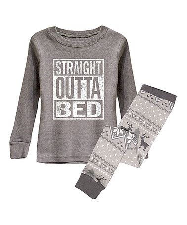 Love this Gray 'Straight Outta Bed' Pajama Set - Infant, Toddler & Kids on…