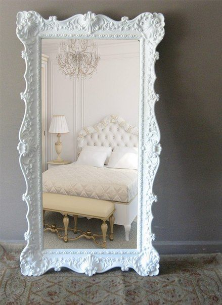 A big mirror accent in the boudoir is always a lovely idea! YES!