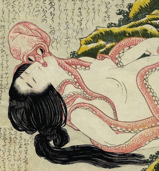 Katsushika Hokusai,Tako to ama: Pearl Diver and Two Octopi, Illustration fromKinoe no Komatsu: Young Pine Saplings(1814), Courtesy Durham University