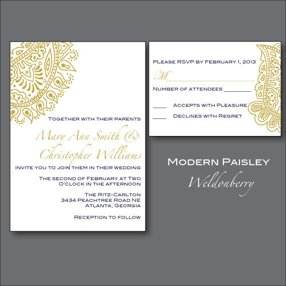 This is beautiful and would coordinate with the boys ties! @Kristie Gros and @Amber Perkins  Modern Paisley Wedding Invitation Suite Printable by Weldonberry