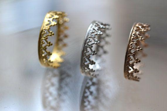 Goldene Krone Ring Ehering. Engagement-Band. Es gibt von LUNATICART