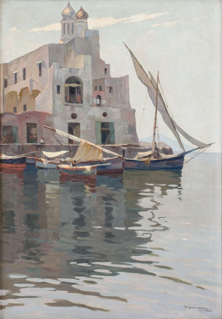 """ILIO GIANNACCINI (Roma 1897 – 1968) OLIO su tela """"Torre del Greco – mattino di Luglio"""", firmato e titolato in basso a destra. origini:"""