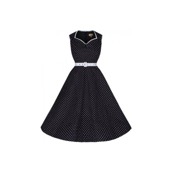 Retro šaty Lindy Bop Xandra Black Polka Retro šaty ve stylu 50. let. Zbožňované a nestárnoucí puntíky tentokrát v black and white drobnější kombinaci. Skvěle padnoucí střih z pružného materiálu (97% bavlna, 3% elastan), projmutý živůtek, od pasu dolů rozšířená sukně, decentní dekolt lemovaný bílý lemem stejně tak průramky.