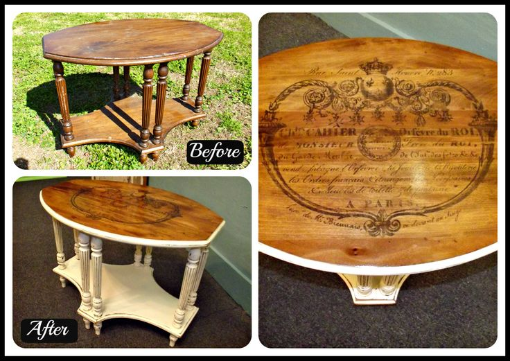 Refurbished Occasional Table Painted Antique White Stained And Waxed With Heat Transfer Image
