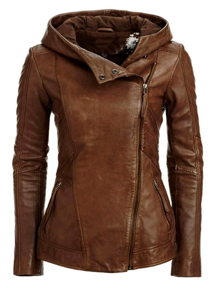 Girls leather jacket with hood