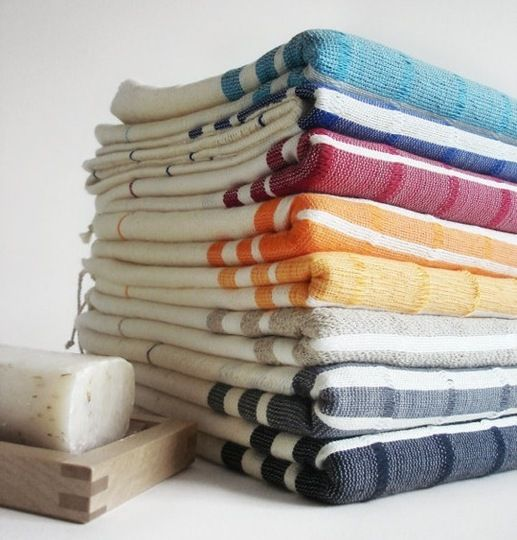 Turkish bath towels, known as pestemals, are the traditional flat-woven towels used in the Turkish baths (hammams). Traditionally hand-woven on looms in Turkey, they are highly absorbent and fast drying. I love them because they are soft and roll up nicely, making them perfect for the park or the beach.
