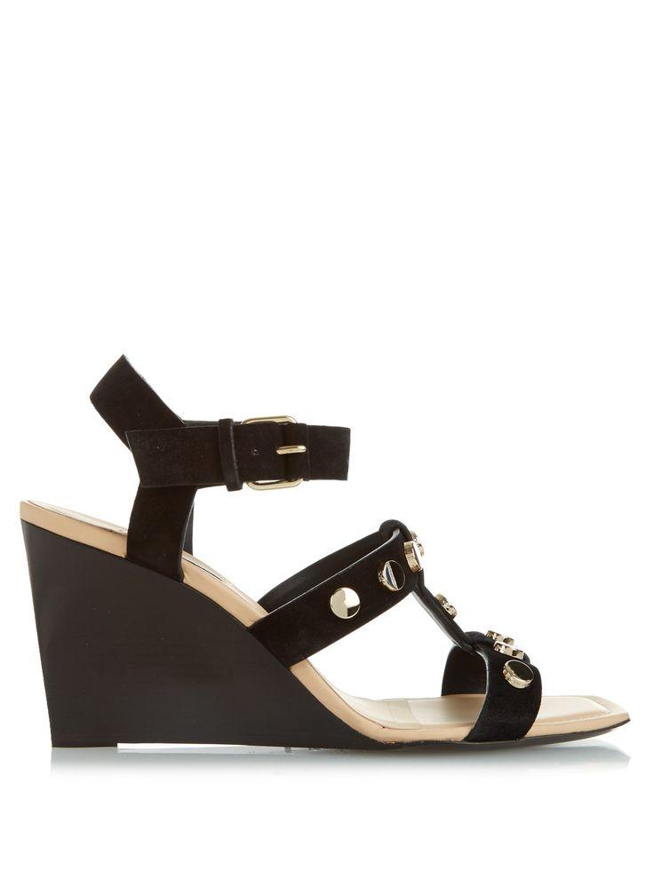 Stud-embellished suede wedge sandals | Balenciaga | MATCHESFASHION.COM