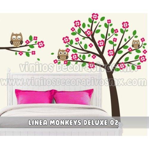 Vinil decorativo infantil arbol y rama con buhos www - Decoracion con buhos ...