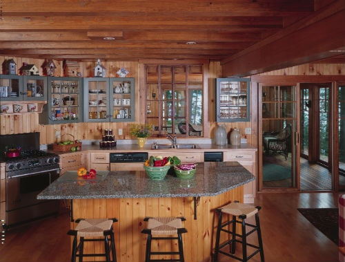 Colorful and rustic lake house kitchen spaces kitchens for Rustic lake house kitchens