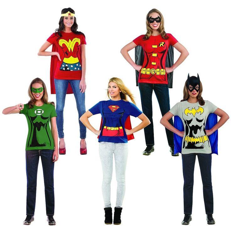 Superhero T-Shirt Female Costume Adult DC Comics Halloween Fancy Dress #RubiesCostumeCoInc