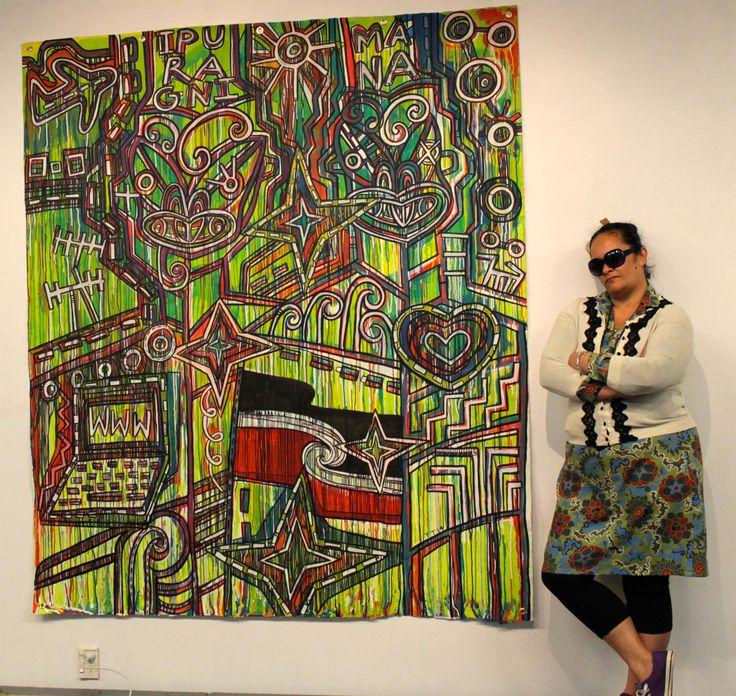 "Tāwera Tahuri ""www.ipurangimana.com"" Acrylic on Loose Canvas 2014"