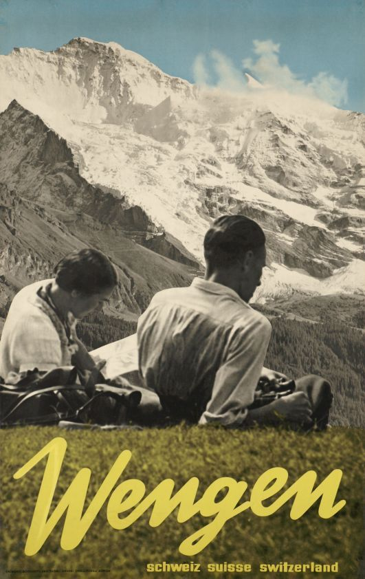 Wengen, Suisse (by Thoni Hans / 1933) Photo-montage poster for 'Wengen Switzerland' in front of the Jungfrau mountain in the Bernese Oberland. Photographs by E. Bocchetti.