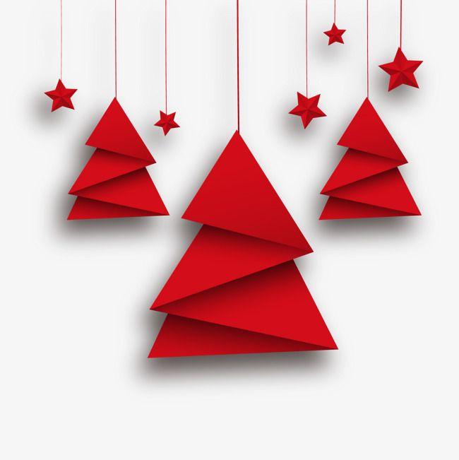 Rote Origami Weihnachtsbaum Und Die Sterne, Grußkarten, Die Sterne, Der Weihnachtsbaum PNG und Vektor zum kostenlosen Download – Weihnachten