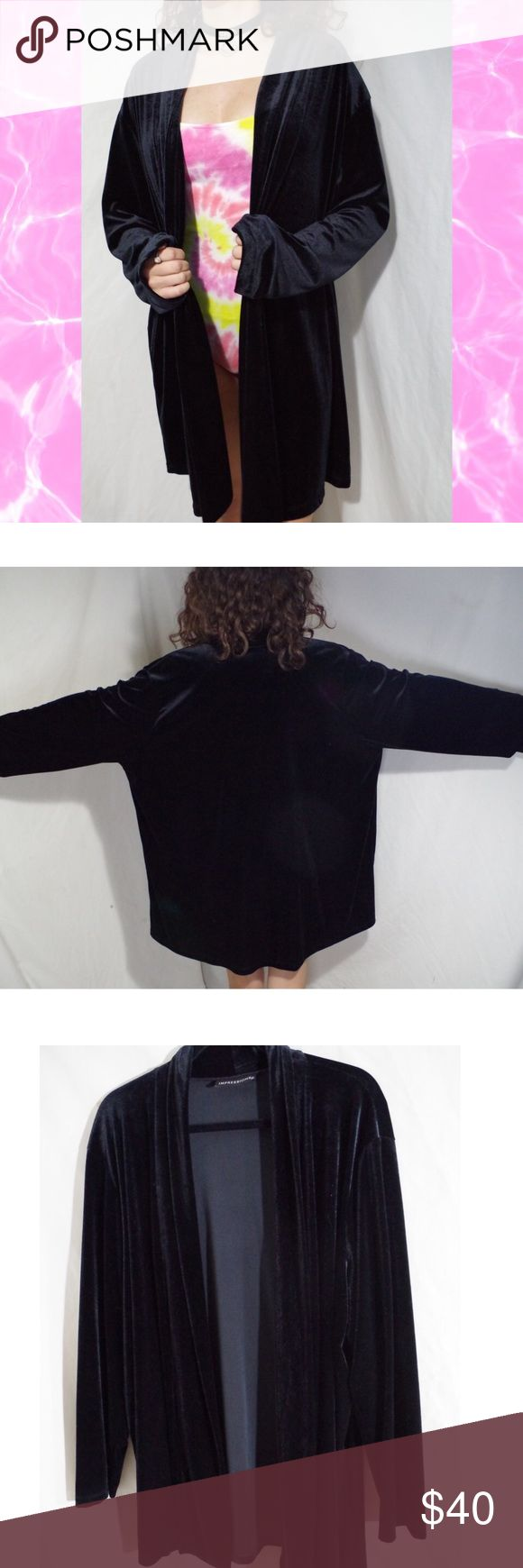 Black Velvet Kimono Robe Cardigan Impressions brand. Vintage. Good condition minimal wear no significant flaws. Black velvet fabric super comfortable and soft. Simple flowy black kimono robe cardigan give an edgy look to any outfit! One size fits most. NOT UNIF tagged for exposure! FREE SURPRISE GIFT WITH EVERY ORDER! SAME DAY SHIPPING, PRICE NEGOTIABLE, willing to sell elsewhere for $32! UNIF Sweaters Cardigans
