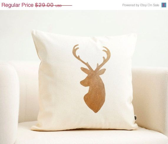ON SALE Deer head pillow cover Reindeer Christmas by pillowlink, $26.10