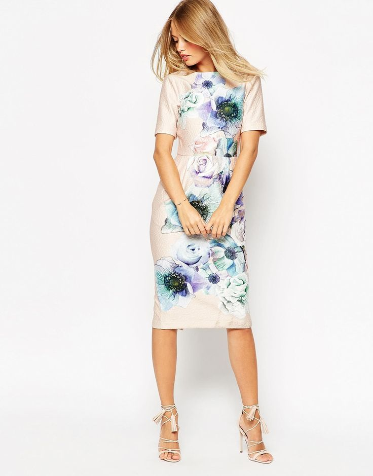 87 ASOS+Wiggle+Dress+in+Watercolour+Floral+Print