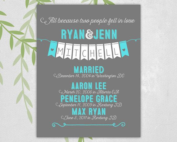 unique anniversary gift for husband for wife - ten year anniversary gift - family quote art - all because two people fell in love(3904)