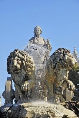 Detalle de la fuente de Cibeles. Uno de los símbolos más conocidos de la ciudad de Madrid