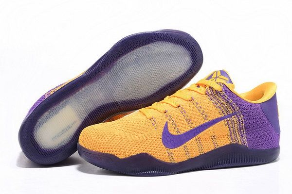 Nike Flyknit Kobe 11 Shoes Purple Yellow Discount