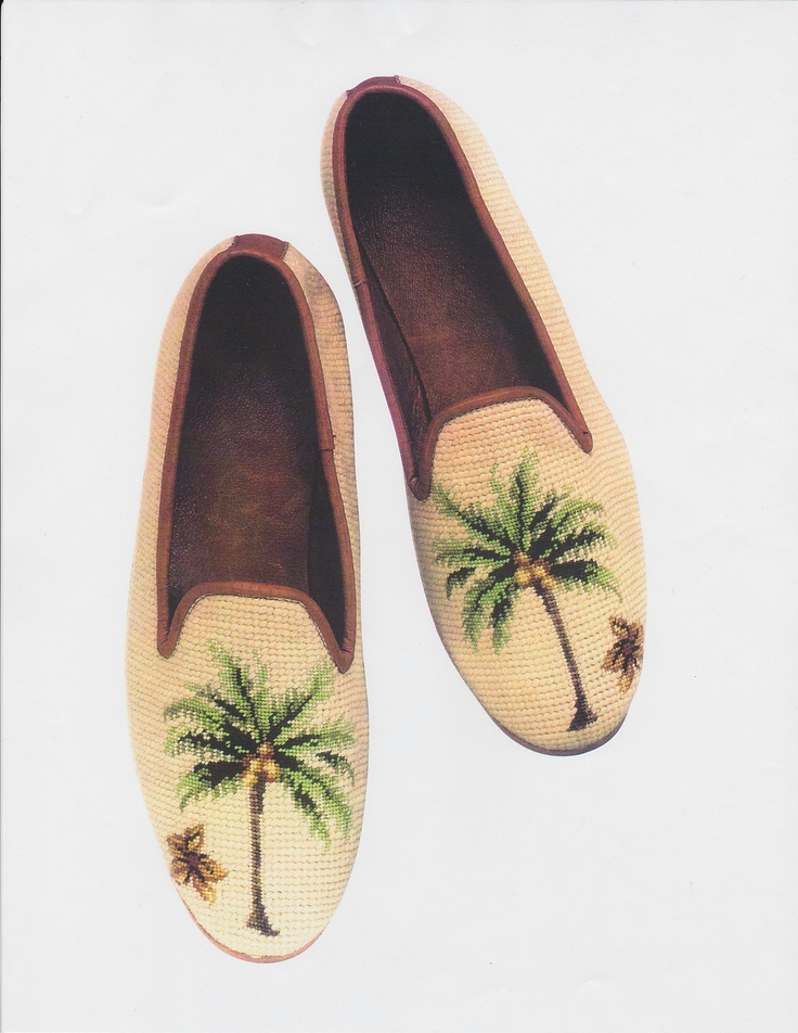 Needlepoint shoes in Plantation Breeze