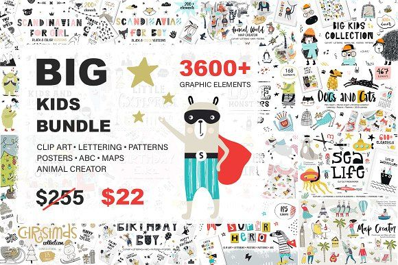 3609 in 1 - BIG KIDS BUNDLE by JB ART ♡ on @creativemarket